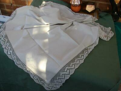 Antique White Textured Linen Tablecloth,Runner~Hand Crochet Lace~44in x 16.5in