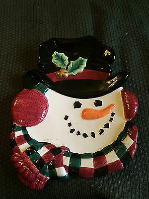 Vintage Fitz And Floyd Essentials Winter Snowman Cheese Serving Plate Dish Tray