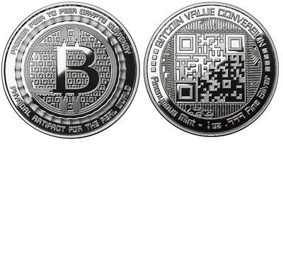 Bitcoin Proof 1 Oz .999 Silver Bitcoin Qr Code Value Conversion Commemorative