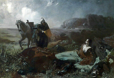 Charming Oil painting horseman soldier with the people Bivouac in field canvas
