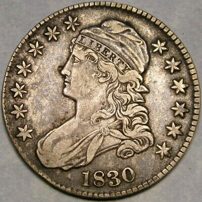 1830 Capped Bust Letter Edge Silver Half Dollar Beautiful Very Scarce O-110 R.3*