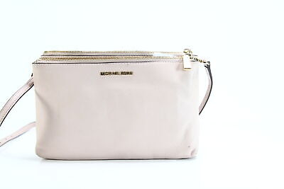 bfd78bc61b7135 Michael Kors NEW Soft Pink Gold Adele Double Zip Crossbody Leather Bag $198  #015