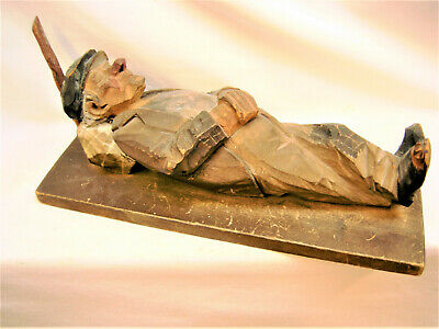 """Large 11""""  Trygg wood carving 1929, Sweden, woodcared figure, handcarved"""