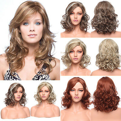 Elegant Soft Synthetic Hair Ombre Platinum Blonde Brown Heat Resistant Full Wig