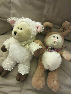 Starbucks COFFEE BEARISTA BEAR BEAN BAG PLUSH EASTER BUNNY RABBIT & LAMB LOT 2