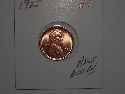 wheat penny 1925 NICE RED BU 1925-P LOT #1 LINCOLN CENT SHARP RED UNC LUSTER