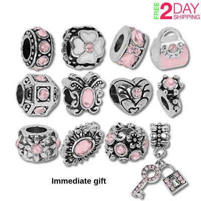 Authentic Pandora Charms12 of Assorted Pink Crystal Rhinestone Beads and Spacers