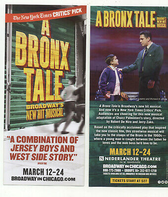 A Bronx Tale Broadway In Chicago 2019 Advertising Flyer