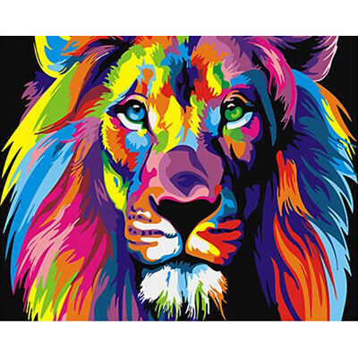 Popular Canvas Paint By Numbers Kit Oil Painting Art DIY Rainbow Lion No Frame