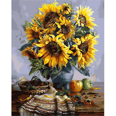 Canvas Paint By Numbers Kit Oil Painting DIY Sunflower No Frame Home Decoration