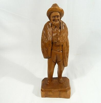 VINTAGE Signed Caron  OLD Fisherman  Nets WOOD CARVING
