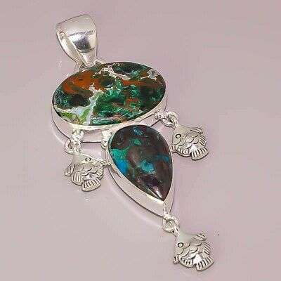 Natural Azurite Malachite Chrysocolla Jewelry 925 Sterling Silver Plated Pendant