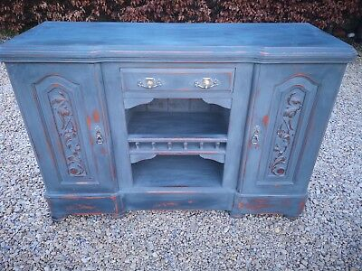 Antique Victorian Lightly Distressed Walnut Sideboard  Graphite Annie Sloan