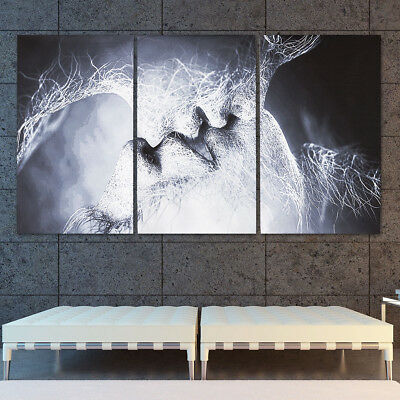 3Pcs Love Kiss Abstract Canvas Print Art Painting Home Wall Room Decor Unframed