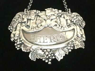 1954 English Sterling Silver Liquor Tag Label Sherry ~ Israel Freeman & Son ~