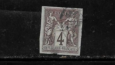 FRENCH COLONIES SC #40 1878 IMPERF 4c ANTIQUE OLD DEFINITIVE SINGLE STAMP