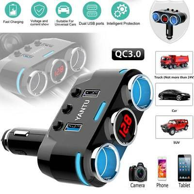 Double USB LCD Car Charger Cigarette Lighter Dual Power Adapter Socket Splitter