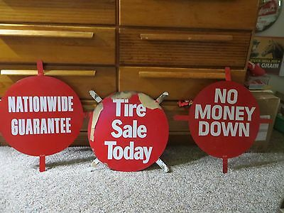 group of 3 assorted dealer store display Firestone tires advertising signs 1967
