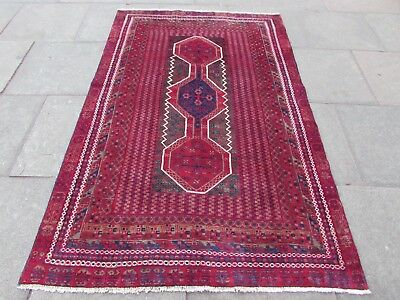 Old Hand Made Traditional Persian Rugs Oriental Wool Red Rug 214x137cm