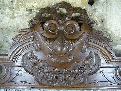 "47"" Antique French Hand Carved Architectural Pediment Oak Wood -Louis XVI Ribbon"