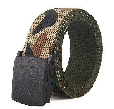 Lady Teen Boy Camo Army Military green camouflage Casual Canvas Pants Belt 110cm