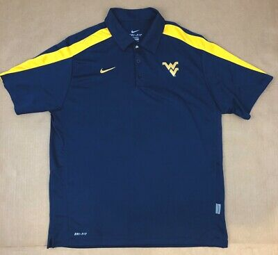 dd04d1f9 Nike WVU Mountaineers Mens Large L Navy Blue Polo Shirt West Virginia Dri  Fit