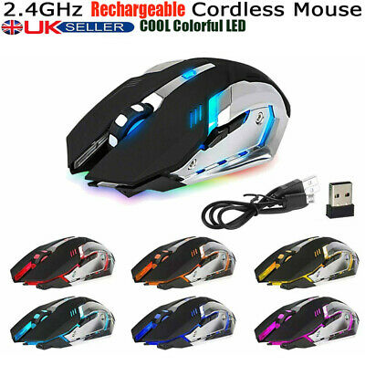 Rechargeable 2.4GHz Wireless X7 LED Backlit Optical Ergonomic USB Gaming Mouse