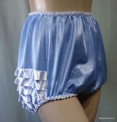 ROSALIND WOODS VINTAGE SILKY SOFT BLUE NYLON FRILLY KNICKERS PANTIES Lg