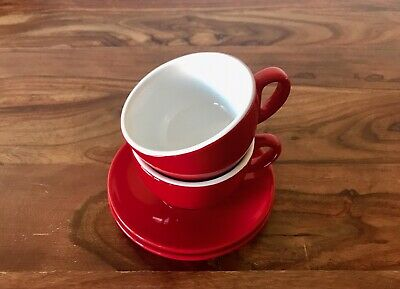 2 Sets Cafe Style Red Cappuccino Cup & Saucer 200ML Commercial Grade