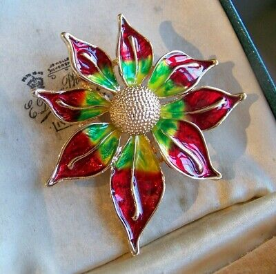 Stunning Jewellery Large Glossy Enamel Sun Flower Statement Brooch Shawl Pin