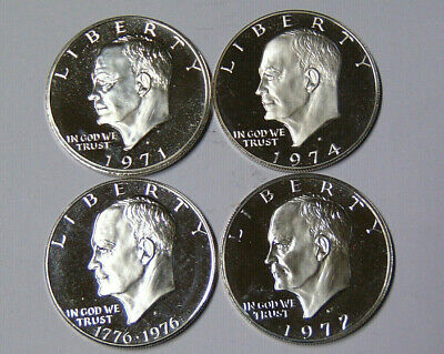 1971-S Through 1974-S $1 40/% Silver Brown Ike Dollar Proof 4 Coin Set No Boxes