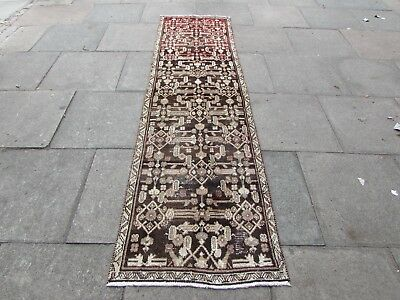 Old Shabby Chic Traditional Hand Made Persian Wool Brown Long Runner 275x75cm