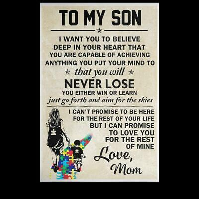 To My Autism Son You Are Capable Of Achieving Anything Satin Portrait Poster