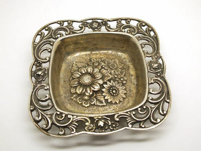 Antique 800 Silver Dish - Ashtray Floral Pattern