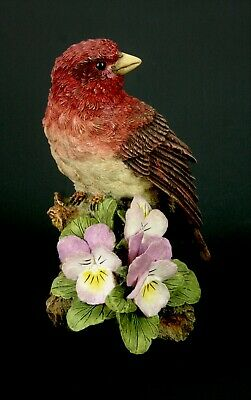 Red Finch Bird Figurine Highly Detailed  Resin  4-3/8""