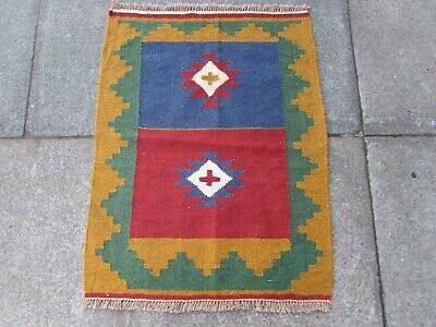 Old Traditional Hand Made Persian Oriental Wool Red Blue Small Kilim 87x62cm