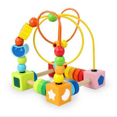 Wooden Baby Math Toys Kids Counting Circles Bead Abacus Wire Maze Roller S