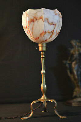 Edwardian 1910 Railway Pullman tripod carriage Lamp hand-made marbled shades