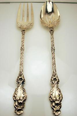 """Rare Whiting LILY Sterling Silver Oversized Salad Fork & Spoon 11 1/2"""" ~ SCARCE"""