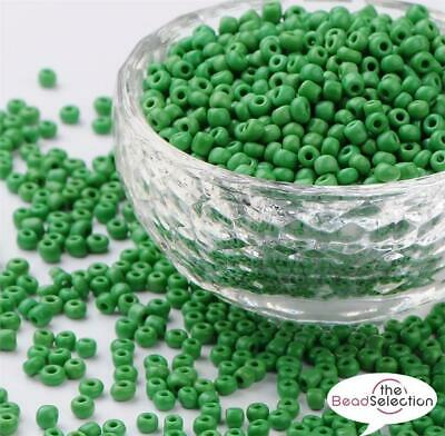 100g GREEN OPAQUE GLASS SEED BEADS 11/0 2mm 8/0 3mm 6/0 4mm