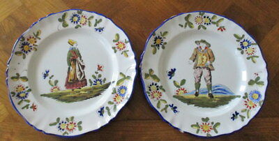 Antique French Faience Plates K & G Matching Pair