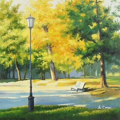 "September in park original Russian oil painting by Andrey Stas 24x24"" 61x61 cm"
