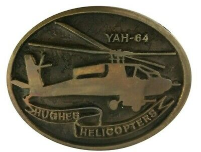 Vtg 70s Yah 64 Hughes Helicopter Apache Army Military Pilot Fighter Belt Buckle