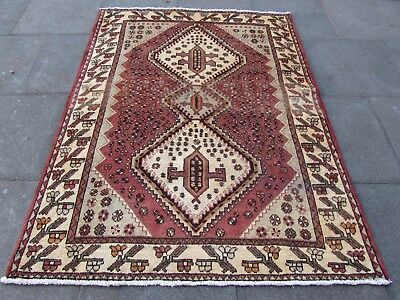 Old Hand Made Traditional Persian Rug Oriental Rug Wool Pink  Rug 198x152cm