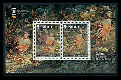 Gibraltar 2019 Europa National Birds/Barbary Partridge MS of Two Stamps MNH