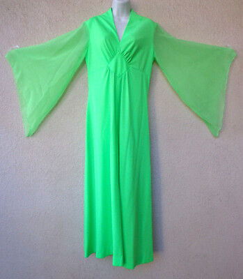 Vintage 70s MAXI DRESS Sheer Chiffon Angel Sleeves Draped Goddess Green Gown M L