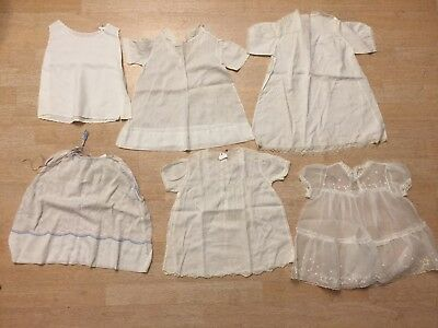 Christening Gowns Lot of 6 Simple Short Vintage Baby Toddler Clothing White 2782