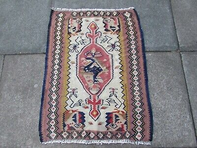 Old Traditional Hand Made Persian Oriental Wool White Cream Small Kilim 87x67cm