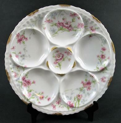 Antique Theo. Haviland - 5 Well OYSTER PLATE - PINK flowers GOLD trim - FRANCE