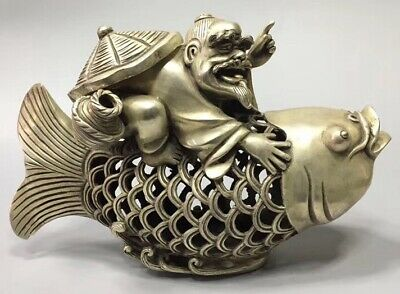 Collectable Handwork Miao Silver Carve Fisherman Ride Fish Tibet Incense Burner